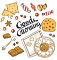 good morning card breakfast menu design set vector image