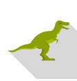 green theropod dinosaur icon flat style vector image vector image