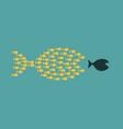 group small fishes hunting a big fish vector image vector image