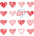 Hand drawn hearts symbols and lettering for vector image vector image