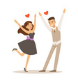 happy elegant couple in love running into each vector image vector image