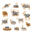 hunting lettering icons hunt animals and ammo vector image vector image