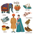indian culture clothes and personal belongings vector image vector image