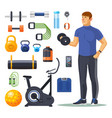 isolated workout fitness items bodybuilder vector image