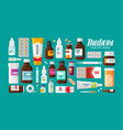 medicine pharmacy hospital set of drugs with vector image