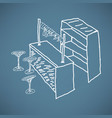 modern bar table chairs sketch vector image
