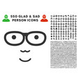 nerd face icon with bonus vector image