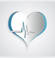 paper cut heart rate icon isolated on grey vector image vector image
