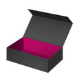 realistic black open package box vector image vector image