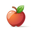 red big apple with leaf vector image vector image