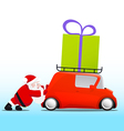 Santa pushing a red mini car with a gift box vector image vector image