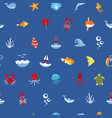 seamless pattern ocean or sea with with animals vector image vector image