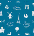 seamless pattern on france and paris theme vector image vector image