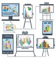 Set charts gadget computer phone vector image vector image