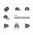 set icons caps and winter hats vector image