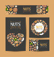 set of cards with nuts and seeds vector image vector image