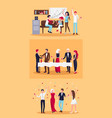 set of celebrating people on vector image vector image