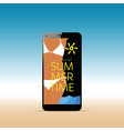 smartphone with girl in bikini and summer time vector image vector image