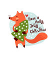 smiling fox character holding fir tree vector image