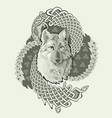 spiritual symbol legendary wolf from ancient vector image