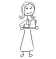 stick man cartoon of woman female assistant vector image
