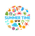 summer time color elements round design template vector image vector image