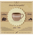 Vintage label coffee shop eps10 vector image vector image