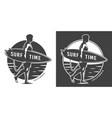 vintage surf time monochrome emblem vector image vector image
