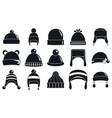winter headwear accessory icon set simple style vector image