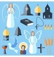 Set theme religion angel bell church dove vector image