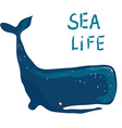 Whale card - for the sea life or travel vector image