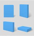 blue blank cardboard package box template vector image
