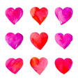 Watercolor hearts isolated vector image