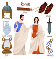 ancient rome people and clothes old furniture vector image vector image