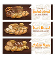 bakery and pastry shop products banners vector image vector image