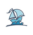 blue sail ship vector image