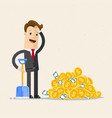 businessman with shovel and pile of gold coins vector image