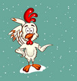 cartoon white chicken vector image vector image