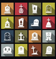 cemetery crosses and gravestones flat icons with vector image