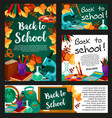 chalkboard with school supplies banner design vector image vector image