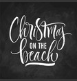 christmas on beach lettering vector image vector image