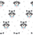 cute raccoon with forest plants seamless pattern vector image