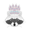 cute raccoon with war bonnet on head vector image vector image