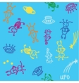 Doodle ufos seamless background vector image vector image