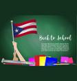 flag of puerto rico on black chalkboard vector image