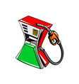 Fuel Pump Station Nozzle Squeezed Retro vector image vector image
