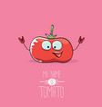 funny cartoon cute red smiling tomato vector image