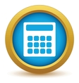 Gold calculator icon vector image vector image