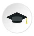 Graduation cap icon flat style vector image