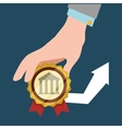hand hold bank arrow economic financial badge vector image